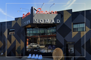 Street view of retail store modern nomad. A collective of local holiday shops