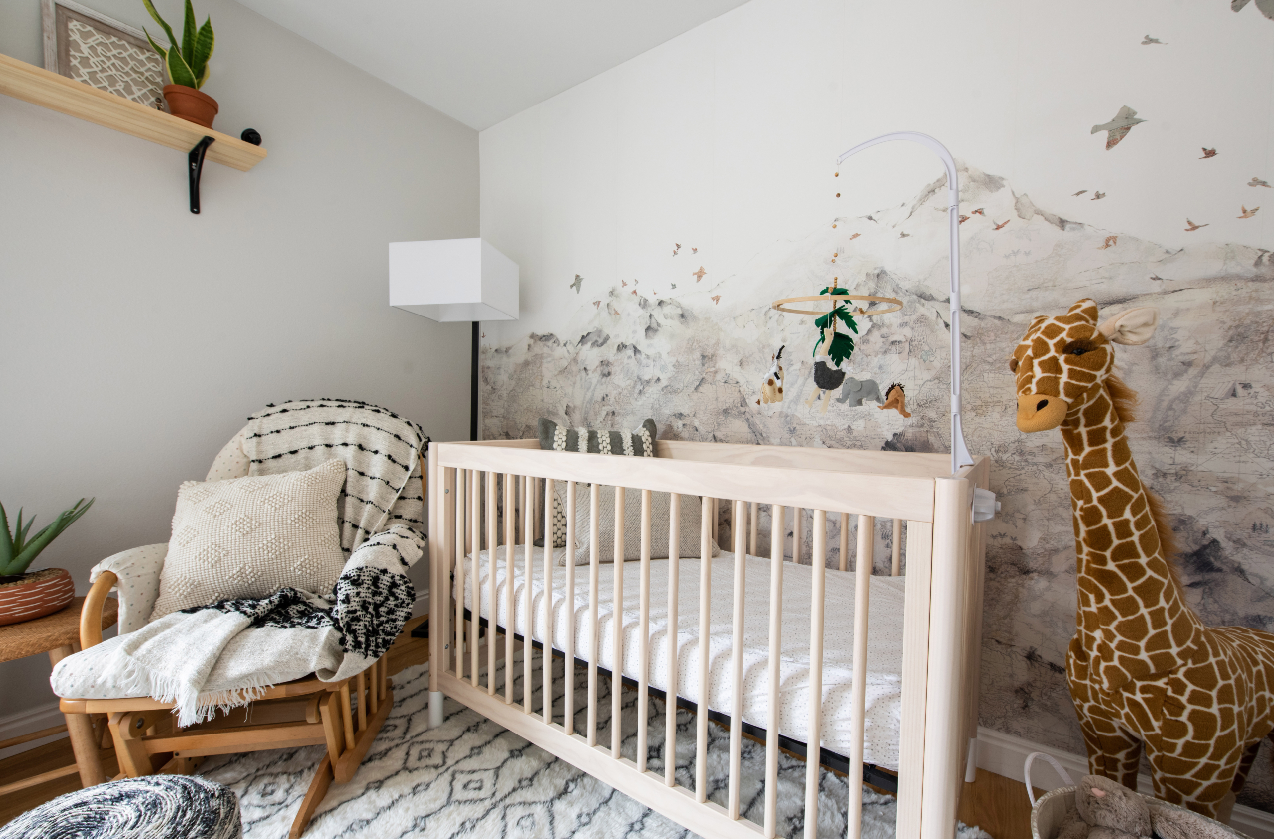 Safari nursery in Louisville CO with global accents and mountain wallpaper with birds