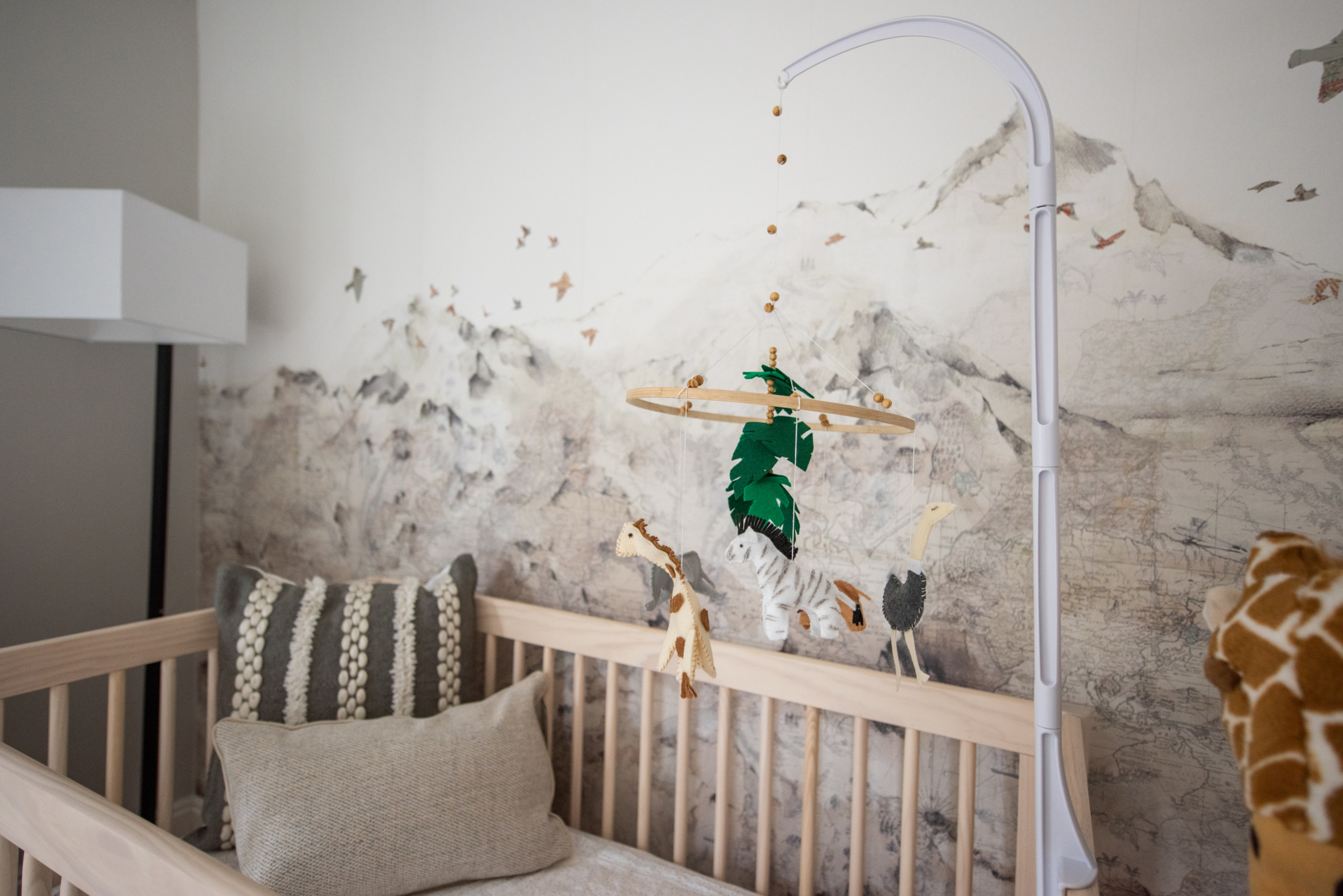 Safari nursery in Louisville CO Close up in crib global accents and mountain wallpaper with birds