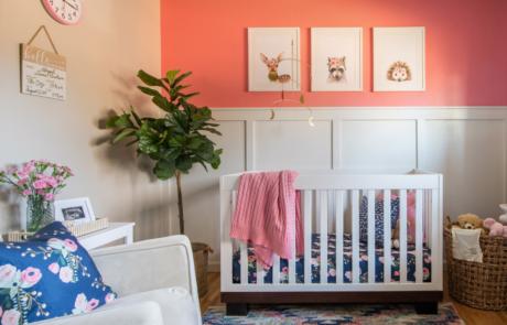 Portfolio Denver Interior Design Pink and Blue nursery with woodland animals