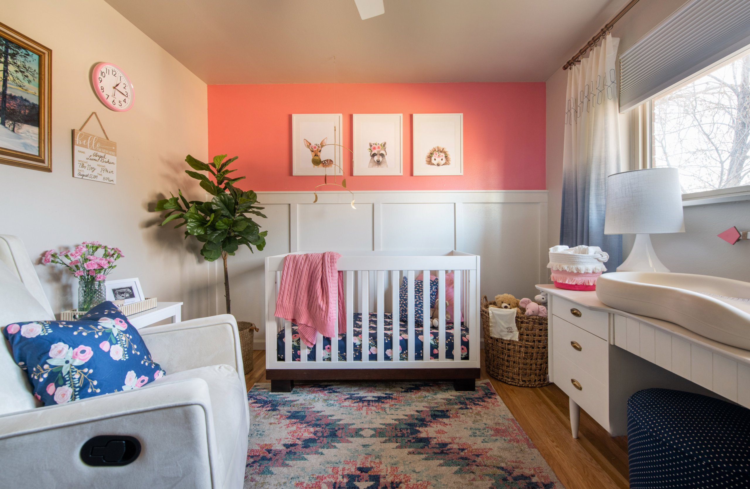 Nursery pink and blue theme with cute animal prints