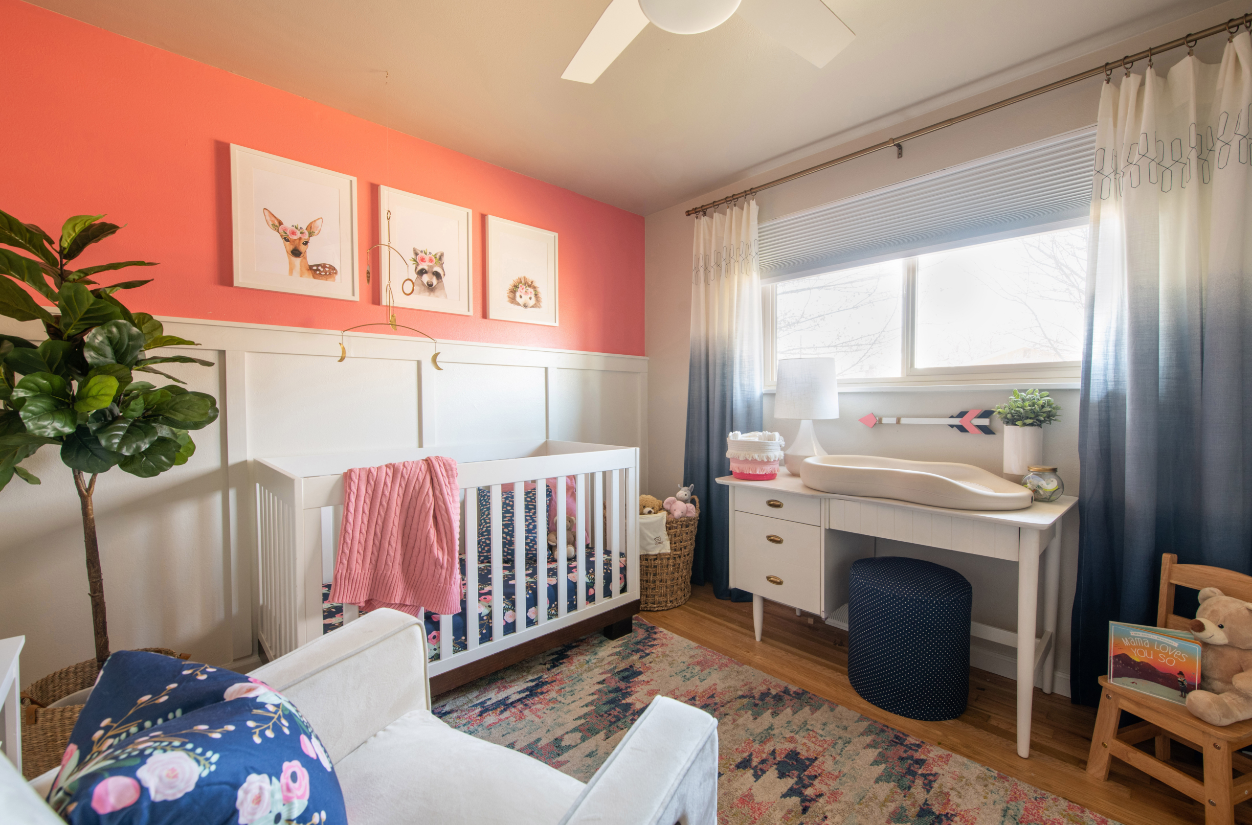 Nursery pink and blue theme changing table view