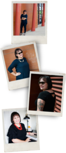 Polaroid images of Adriele standing, laughing, and showing off her tattoos.