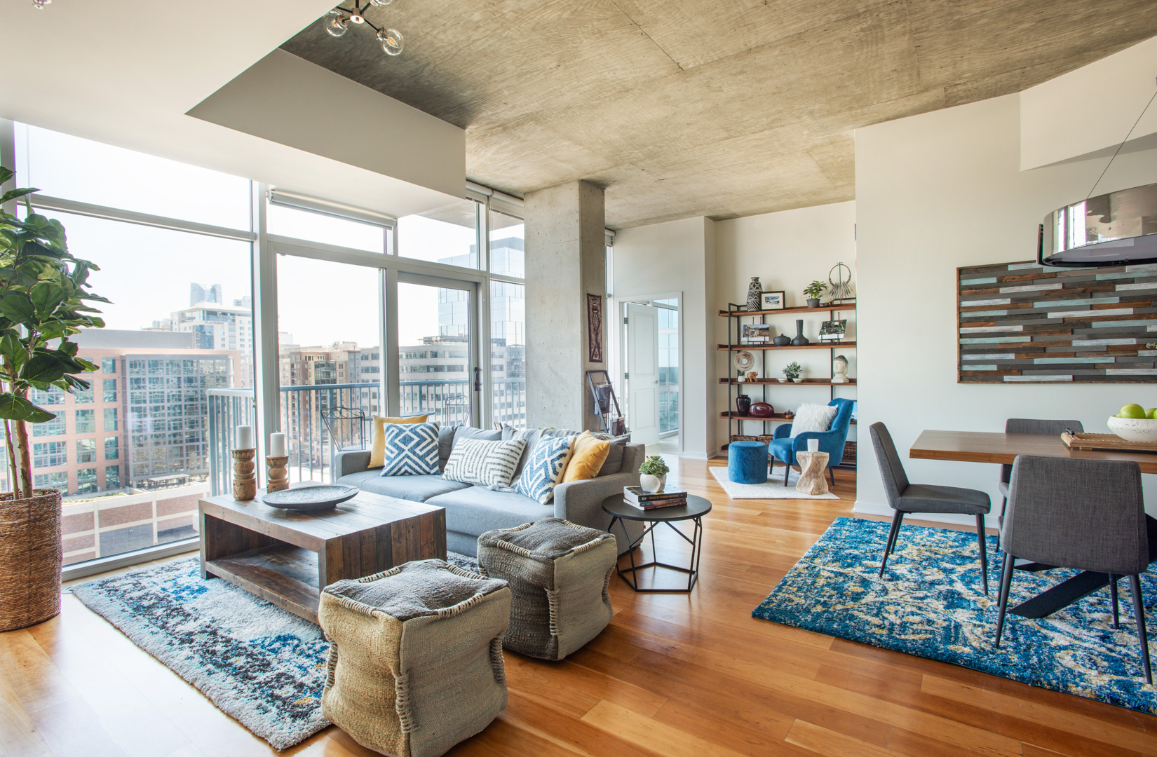 Glass House Loft wide view including dining living and reading nook